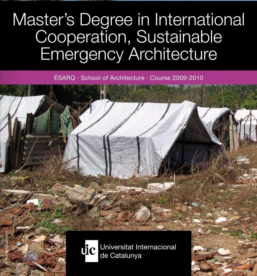 Master's Degree in International Cooperation, Sustainable Emergency Architecture