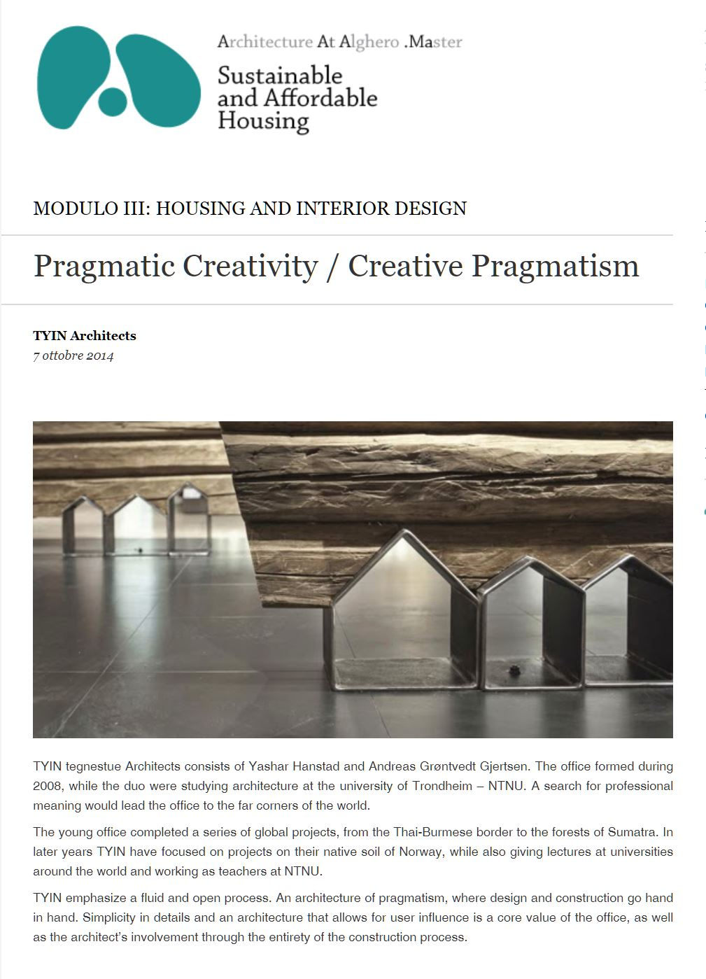 Pragmatic Creativity / Creative Pragmatism