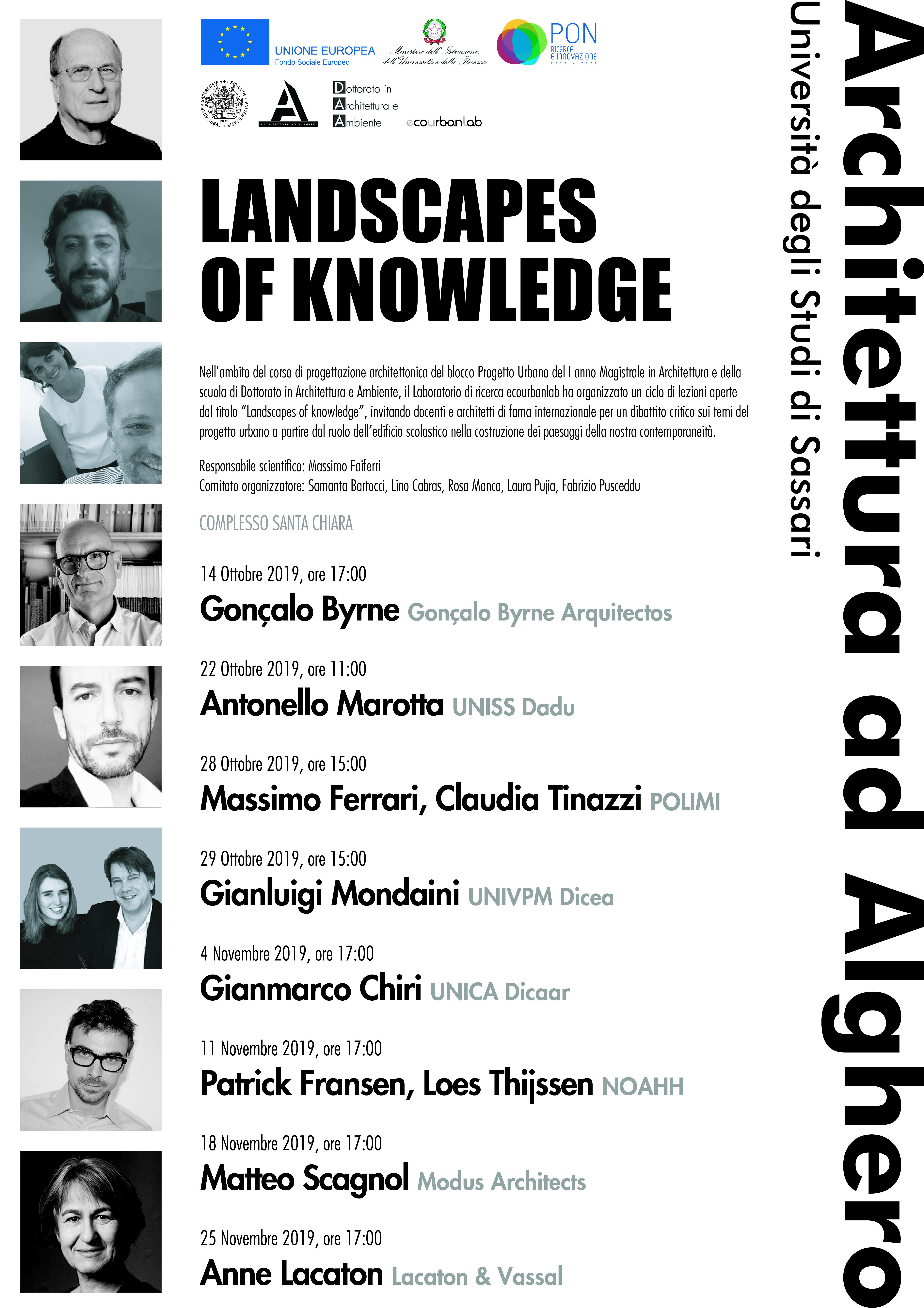 """ciclo di lezioni aperte dal titolo """"Landscapes of knowledge"""""""