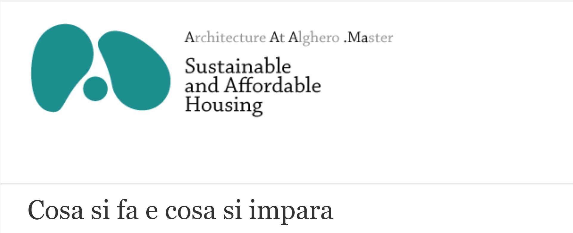 Master universitario in Sustainable and affordable housing